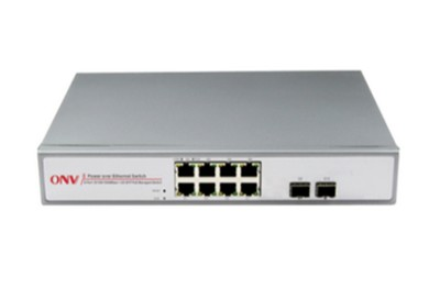Switch PoE 8 ports Gigabits et 2 ports fibre optique SFP ONV