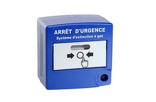 Déclencheur manuel arrêt urgence bleu double contact AXENDIS - AX10080